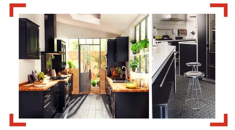 reforma cocina muebles negros